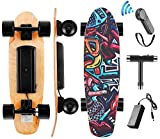 Hanico Skateboard Eléctrico Longboard Eléctrico a Control Remoto para Adulto Jóvenes Niño, Negro Skateboard Monopatín de Crucero Completo,Motor 350W, Máx 20 km/h(EU Stock)
