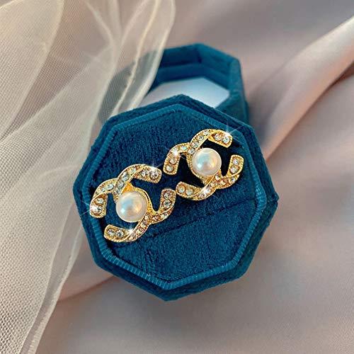 XBSLJ Damen Ohrringe Bolzen-Ohrringe Retro-Perlen-Ohrringe weibliche Doppel-C-Ohrringe neu Temperament Ohrringe Net Red Ohrringe,Weiß