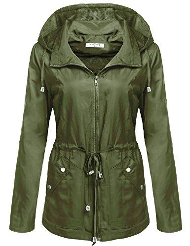 ANGVNS Women's Waterproof Lightweight Rain Jacket Anorak with Detachable Hood,Army Green,Medium