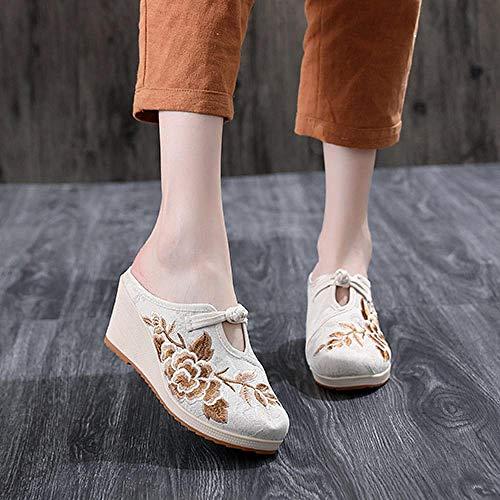 LYNLYN Scarpe Ricamate per Le Donne Fiori Ricamati Donne S Canvas Mulos Pantofole Cuneo Tacco Alto Signore Comfort Comfort Scarpe da Ricamo Piattaforme Tacchi Ricamati (Color : White, Size : 36)