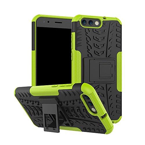 pinlu® Custodia per ASUS ZenFone 4 ZE554KL (5.5 Pollice) Smartphone Armatura Rugged Heavy Duty Cover Doppio Strato TPU + PC Antiurto Protettiva Case Pneumatico Modello Verde