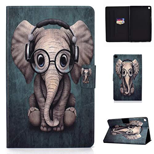 CaseFun Hülle für Samsung Galaxy Tab S6 Lite 10.4 P610/P615 Case PU Leder Tasche Magnetisch Schutzhülle Flip Cover mit Standfunktion, Elefant