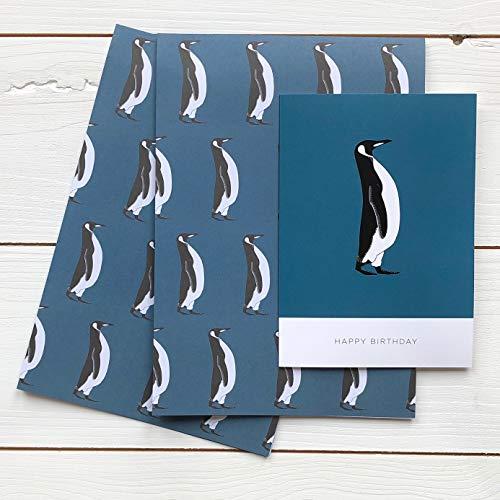 Pinguin-Geschenkpapier mit Pinguin-Geburtstagskarte