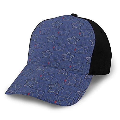 Gorra de béisbol estructurada, patrón de estilo denim con corazones y motivos geométricos en rayas, sombrero de papá para hombres y mujeres, perfil bajo ajustable
