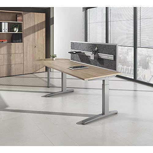 Anny–Schreibtisch mit C-Foot Rahmen, Nierenförmiger, Breite 2000mm, Ahorn-Finish.