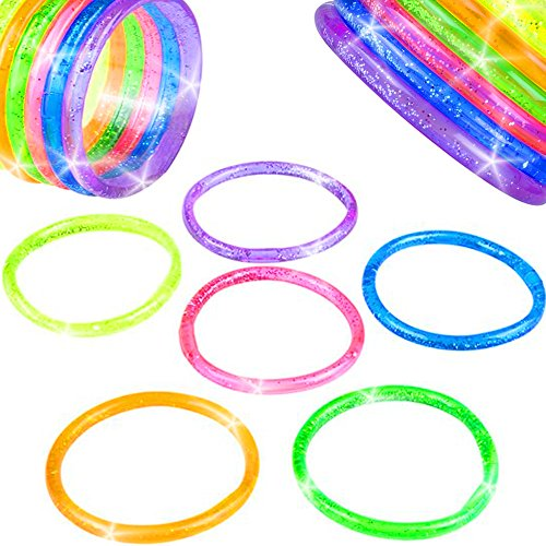 German Trendseller® - 12 x Glitter Liquid Armbänder für Kinder ┃ Mitgebsel ┃ Kindergeburtstag ┃ Farb Mix ┃ 12 Stück