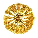 RUBY - 18 Borlas de hilo flecos pompones para la fabricación de joyas, recuerdo, marcadores, accesorio de arte DIY, handmade (Amarillo)