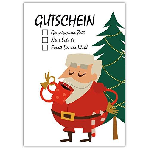 10 Multiple Choice Weihnachtskarten als Gutscheine mit Weihnachtsmann vor Weihnachtsbaum: für gemeinsame Zeit, neue Schuhe oder Event Deiner Wahl • Weihnachtsgrußkarten inkl Umschläge zu Neujahr, Silvester für Familie, Freunde, Firmen Kollegen