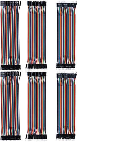 Electrely 240 Piezas de Cable DuPont 20cm, Jumper Cables de Puente para Arduino Raspberry Pi Breadboard, 80Pin Macho a Hembra, 80Pin Macho a Macho, 80Pin Hembra a Hembra (6Pack)