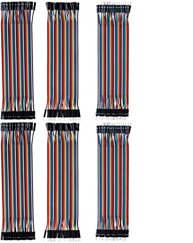 Electrely 6Pack/240Pcs Breadboard Cavetti Jumper 20cm, Cavi a Nastro Filo Dupont Wire per Arduino Raspberry Pi, Maschio a Femmina, Maschio a Maschio, Femmina a Femmina