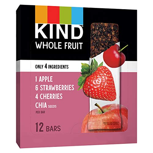 KIND Whole Fruit Bars, Strawberry Apple Chia, No Sugar Added, 1.2oz, 12 Count