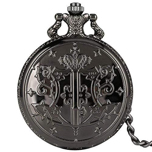 Taschenuhr Black Pocket Watch Quarz Analog Slim Chain Pendant Watch Ankunftsuhr