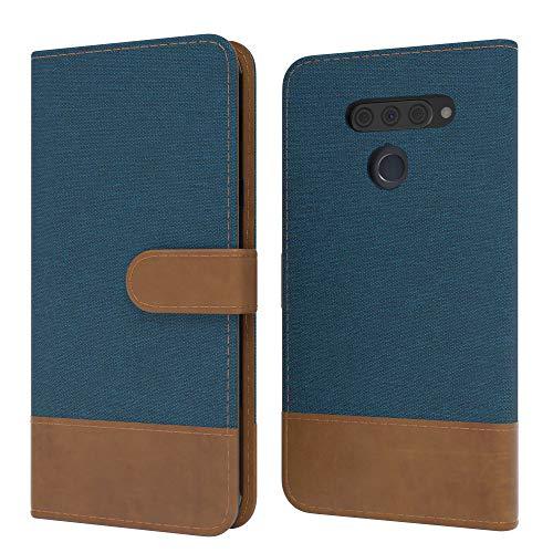 EAZY CASE Tasche kompatibel mit LG Q60 / KG50 Stoff Schutzhülle mit Standfunktion Klapphülle im Bookstyle, Handytasche Handyhülle Flip Cover mit Magnetverschluss & Kartenfach, Kunstleder, Dunkelblau