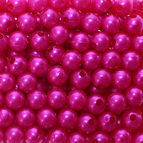 250 x Kunstperle 8mm Perlen in praktischer Plastikdisplaybox Wachsperlen Dekoperlen Bastelperlen mit Loch Kunstperlen, Farbe:pink