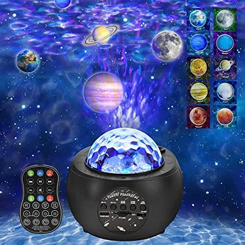 ROVLAK LED Lámpara Proyector Estrellas Luz Nocturna Niños Música Romántica Lámpara de Cielo Estrellado con Control Remoto Temporizador Altavoz Bluetooth para Niños Adultos