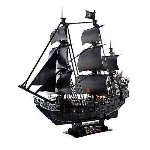 FXQIN Rompecabezas 3D Puzzle Barco Pirata Maqueta de Barco y Barco Kit de Barco para Adultos, Grandes y difíciles La Venganza de la Reina Ana Jigsaw Puzzles con Luces LED 340 Piezas