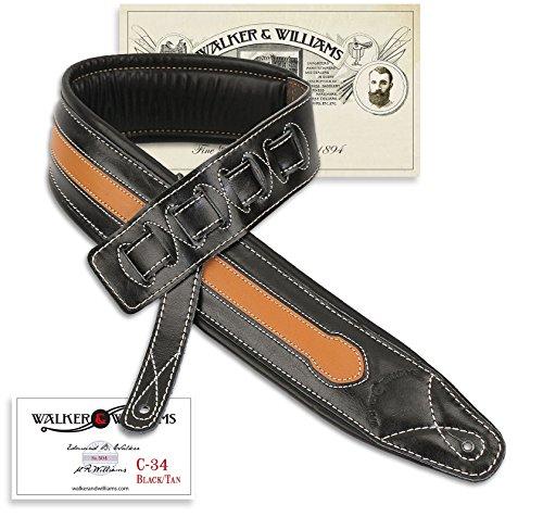 Walker & Williams C-34-TN Black and Tan Super Premium Top Grain Leather Padded Strap 3 1/4' Wide