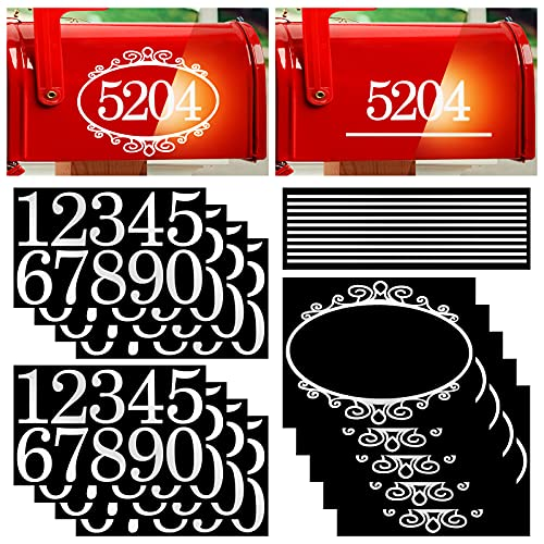 80 Pieces Reflective Mailbox Numbers Adhesive Vinyl Address number stickers Rustic Flower House Number For Mailbox,Sign,Window,Door,Outside (2 Inches)