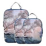Organizador de maletas Hermoso blanco invierno Escena de nieve Cubo de embalaje de compresión Cubos de embalaje expandibles para maletas para equipaje de mano, viajes (juego de 3)