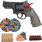 BDBT Pistola de Juguete de Bala Suave Classic Revolver, Onda de Choque de Dardos - Arma de Bala Suave con Marco de aleación de tamaño 1: 1, Lanzamiento de Bala de Esponja EVA