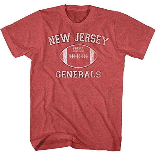 American Classics New Jersey Generals US Football League Distressed Red Heather Adult T-Shirt Tee