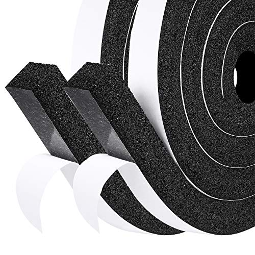 fowong Dichtungsband Schaumstoffband Moosgummi Selbstklebend 25mm(B) x25mm(D) Fensterdichtungsband für Tür Kollision Siegel Schalldämmung Gesamtlänge 4m (2 Rollen je 2m lang)