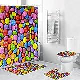 CDFD Duschvorhänge Set 4PCS rutschfeste Süßigkeiten Schmetterlingsmuster WC Polyesterabdeckung Matte Set Blumen Badezimmer Duschvorhang, C.