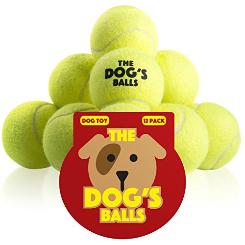 The Dogs Balls, Dog Tennis Balls, 12-Pack Yellow Dog Toy, Premium Strong Dog & Puppy Ball for Training, Play, Exercise and Fetch