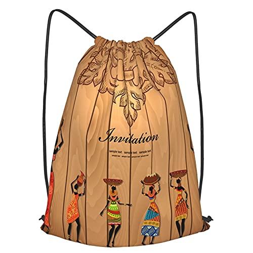 AndrewTop Mochilas de Cuerdas Unisex,Chica de África en textura de madera para su diseño,Impermeable Mochila con Cordón,adulto Niños exterior Mochilas Casual,yoga Bolsas de Gimnasia