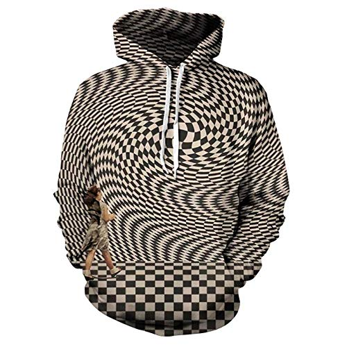 Hoodie Capuchafashion 3D Printing Color Fashion Hip Hop Hoodie Men and Women Leisure Personality Fashion Psychedelic Dizziness XL Z-Wy346