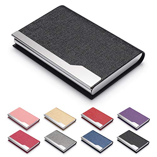 FACATH Business Card Holder Case - Luxury PU Leather Name Card Holder & Stainless Steel Multi Card Case, Slim Metal Pocket Card Holder Wallet Credit Card ID Case/Holder with Magnetic Shut (Black)