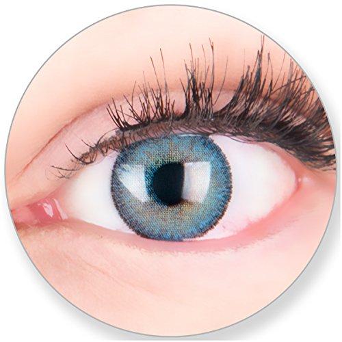 Glamlens Kontaktlinsen farbig blau ohne und mit Stärke - mit Kontaktlinsenbehälter. Sehr stark deckende natürliche blaue farbige Monatslinsen Himmelblau 1 Paar weich Silikon Hydrogel 0.0 Dioptrien