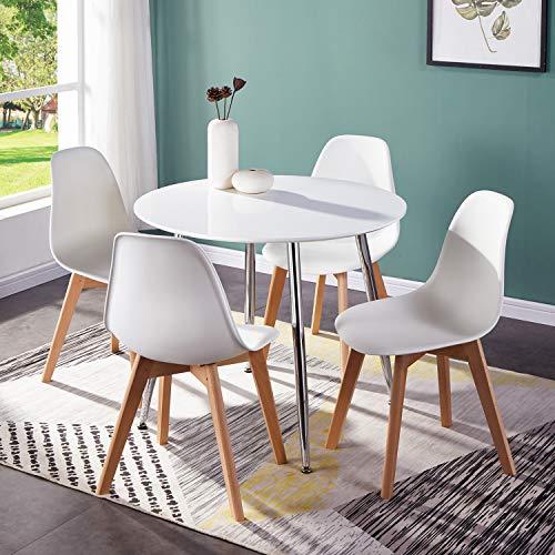 GOLDFAN Runder Esstisch für 4 Moderne Hochglanz-Küchentische und Stühle für Das Esszimmer, Ø 80 x 75 cm (Weiß)