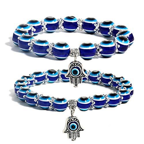 SUMMER LOVE Evil Eye Hamsa Blue Beaded Charm Stretch Bracelet Hand of Fatima Turkish Evil Eye Lucky Bracelet for Protection and Blessing