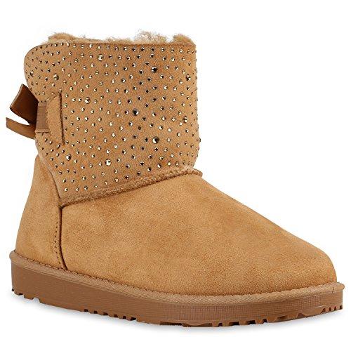 Warm Gefütterte Damen Stiefel Schlupfstiefel Boots Stiefeletten Schuhe 126414 Hellbraun Strass Schleife 37 Flandell