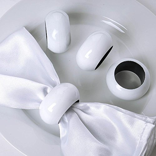 AHOLTA DESIGN Acrylic White Napkin Rings - for Wedding Birthday Party Tableware Great for Thanksgiving Christmas New Year eve (White, Napkins Rings 4PCs)