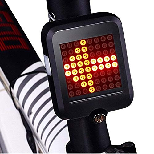 USB Rechargeable Bike Tail Light, Smart Bicycle Turn Signal Lights with 80 Lumens 64 LED Light Beads, Portable Brake Light Warning Light Fits on Any Road Bikes