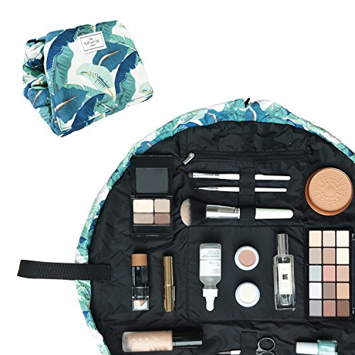 The Flat Lay Co. Make Up Bag | Lay Flat Travel Cosmetic Toiletry Case | Contents not included (Everything | 50cm, Tropical Leaves)