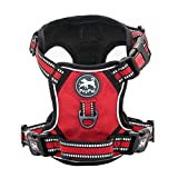 PoyPet No Pull Dog Harness, [Release on Neck] Reflective Adjustable No Choke Pet Vest with Front & Back 2 Leash Attachments, Soft Control Training Handle for Small Medium Large Dogs(Red,L)