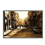 DuanWu La Habana Cuba - Cartel de Calles de la Ciudad Lienzo Pintura Sala de Estar Arte de Pared Impresiones en Lienzo decoración del hogar -50x75 cm sin Marco 1 Uds
