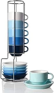 Sweejar Porcelain Espresso Cup & Saucer Set, Stackable Demitasse Cups with Metal Stand, 2.5 OZ for Latte,Coffee,Cafe Mocha,Tea, Set of 6