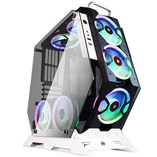 KEDIERS ATX Case Open Frame Panoramic Viewing Gaming Computer Case Pc Case Mid Tower Case with 2 Tempered Glass RGB Fans (5 RGB Fans, Black)