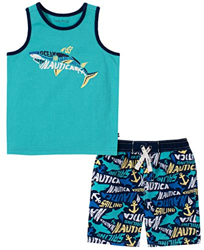 Nautica Baby Boys' 2 Pieces Tank Top with Swim Shorts Set, Astral Turquioise/Printed Medieval Blue, 24M
