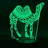 Arabesque Camel Creative LED Night Light Office Home Room Decoration Artesanías de acrílico Cool Kids Gift Kids Child Bedroom Nightside Mesita Lámpara