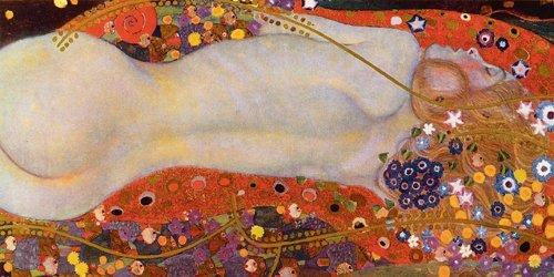 Leinwandbild Wasserschlangen II von Gustav Klimt, 60 x 30cm, Motiv bis an die Kanten, Kunstdruck,...