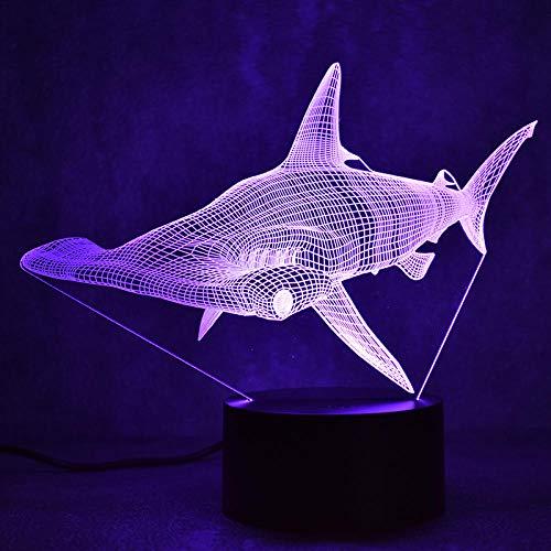 3D Illusion LED Lamp for Kids LED Table Lamp Decor Creative USB Shark Light Fixture Lampara Night Light Sphyrna Mokarran Lamp Bedside Sleeping Nightlight