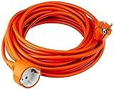 Garza ® - Cable alargador de corriente para jardín de 10 metros, naranja, con toma de tierra hasta 16 Amperios (3680W)