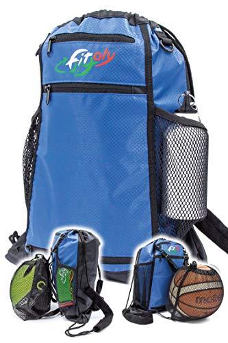 FitFitaly Sacca Sportiva Impermeabile 14L per Sport o Spiaggia con Rete x Pallone o Casco - Robusta e Capiente, Chiusura Rapida