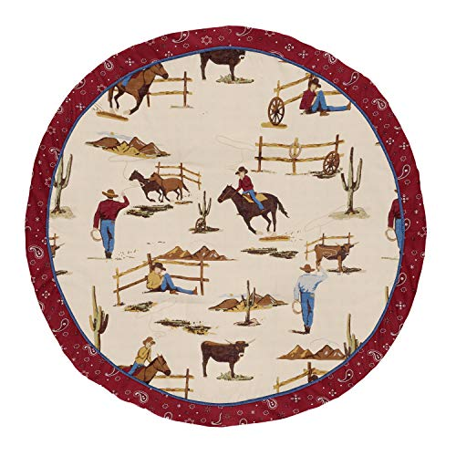 Sweet Jojo Designs Tan and Red Cowboy Playmat Tummy Time Baby and Infant Play Mat for Wild West Collection