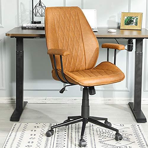 Bürostuhl Leder braun Schreibtischstuhl PU mit Abnehmbare Armlehne, Drehstuhl Arbeitsstuhl Verstellbare Rückenlehne Braun Chefsessel, Belastbar bis 200kg